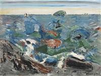 maine sea with island by john marin