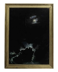 a shipwreck by a ruin under the moonlight by william charles anthony frerichs