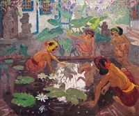 women by the lotus pond by adrien jean le mayeur de merprés