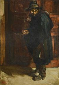 hombre con sombrero y cigarro by fernando fader