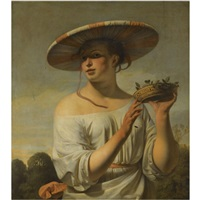 girl holding a basket of plums by cesar boetius van everdingen