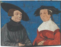 an elegantly dressed couple, the male figure holding a pair of compasses by narzisz renner