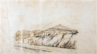 oriental figures resting in a lane with buildings beyond by george chinnery