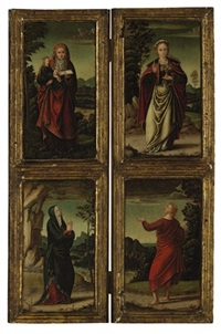 saint anne and the virgin mary (+ mary magdalene and saint peter; 2 works) by marcellus coffermans