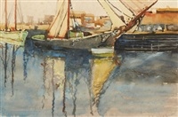 harbour scene by archibald bertram webb
