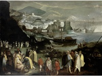 figures gathered in a harbour with fishermen unloading their catch, a town beyond by flemish school (17)