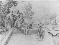 femme au bain entourée de deux hommes by jean rabel