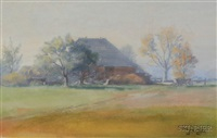 the village in the distance (+ 2 others; 3 works) by john wesley little
