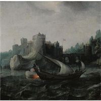 a ship engaged in battle, in rough waters, near a stronghold by aert anthonisz