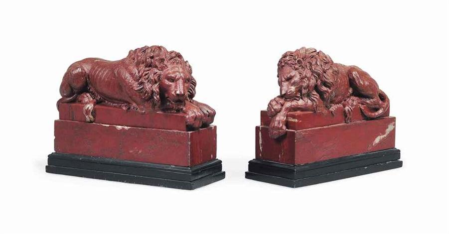 recumbent lions by antonio canova