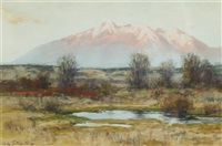 sierra blanca at sunset from san luis valley near garland by charles partridge adams