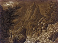 ideale gebirgslandschaft mit wasserfall (idealised landscape with waterfall) by caspar david friedrich