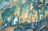 landscape with palm trees, india by aleksei ilych kravchenko
