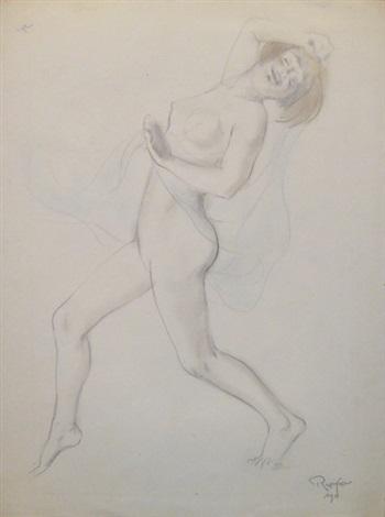 jeune femme nue dansant et esquisse recto verso by armand rassenfosse