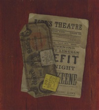 five dollar bill, program and ticket stubs from ford's theatre by nicholas alden brooks