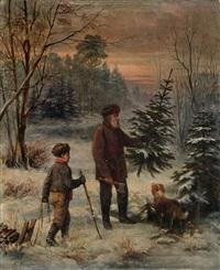 beim weihnachtsbaumholen by franz krüger