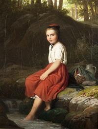 girl at the creek by johann georg meyer von bremen