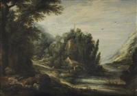 a mountanous river landscape with cattle, a farm house and travellers beyond by gillis (egidius i) peeters