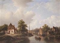 paysage aquatique en hollande avec maisons au bord de l'eau et figures dans une chaloupe by hester adriana cornelia zaalberg