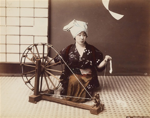 spinning cotton by kusakabe kimbei