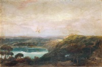a view of lake nemi, looking towards genzano by john robert cozens