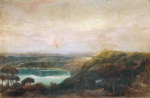 a view of lake nemi looking towards genzano by john robert cozens