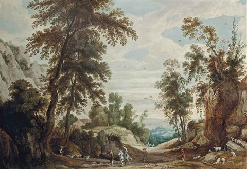 a wooded landscape with a figure on horseback and shepherds with their flock on a path a castle beyond by jan wildens