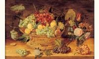 nature morte à la corbeille de raisins et de prunes et au bouquet de fleurs disposés sur un entablement by isaac soreau