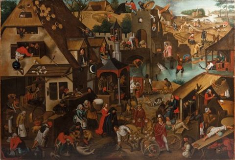 les proverbes flamands by pieter brueghel the younger