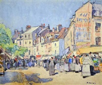 dieppe market scene by david davies