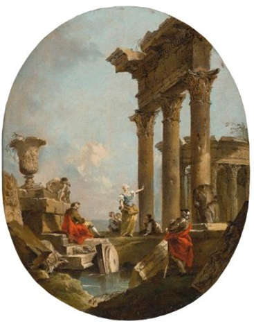 an architectural capriccio with figures amongst classical ruins a temple beyond by francesco guardi
