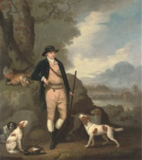 portrait of george farmer of witton manor, staffordshire, full-length, with his dogs, in a landscape by moses haughton the elder
