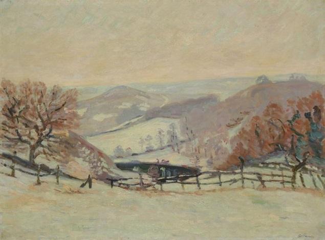 paysage de neige au puy barriau à crozant by armand guillaumin