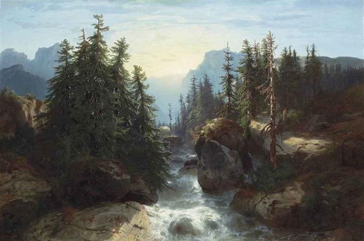 torrent des alpes, souvenir de la scheidegg by alexandre calame