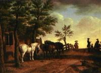 chevaux devant l'écurie by paulus constantijn la (la fargue) fargue