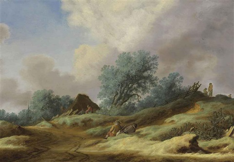 a landscape with peasants on a dune by salomon van ruysdael