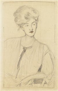 portrait of a woman (+ an impression of the drypoint on wove paper; 2 works) by gertrude partington albright