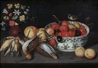 composition au panier d'abricots et aux fleurs et composition à la coupe de prunes, aux bécasses et aux grives (pair) by franz godin