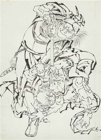 shoki the demon queller standing over an oni forcing the demon down with a sword point at its neck by katsushika hokusai