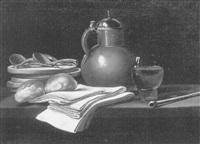 nature morte à la cruche, petits pains et objets divers posés sur un entablement by lubin baugin