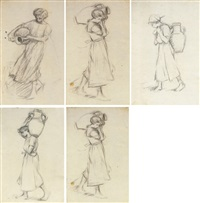girl with a jar (study; 9 works) by henry herbert la thangue