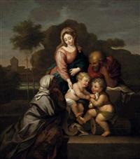 die heilige familie mit dem johannesknaben und der heiligen anna in landschaft by nicolas poussin
