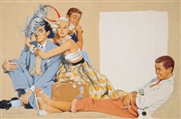 woman flirting with three men (study for mccall's magazine) by j. frederick smith