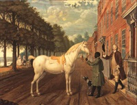 a gentleman with his horse and groom, richmond hill, surrey by august von heckel