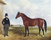 a bay stallion (property of lord willoughby d'eresby?) with a trainer, horses grazing in the distance by john barwick