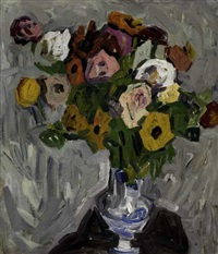 flowers in a blue and white vase by william henry johnson