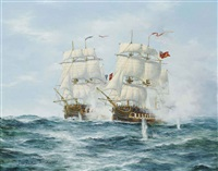 h.m.s. dryad engaging the french frigate prosperine, 13th june 1796 by john bentham-dinsdale