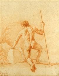 kniender männlicher akt mit stab, rückenansicht by johann elias ridinger