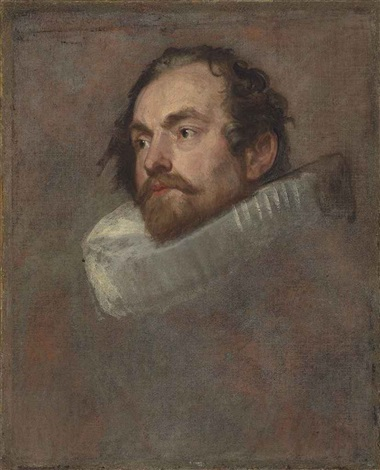 head study of a man in a ruff by sir anthony van dyck