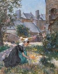 jeune bretonne cueillant des fleurs by henri alberti